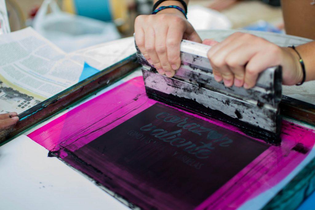 Screen printing using film positives